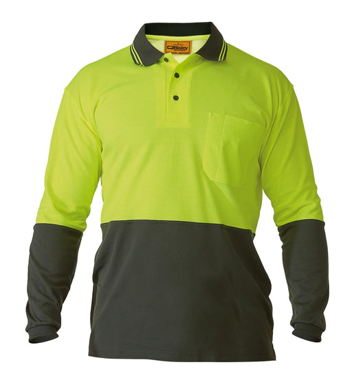 Bisley 2 Tone Hi Vis Polo Shirt - Long Sleeve - Yellow/Bottle (BK6234) - Trade Wear