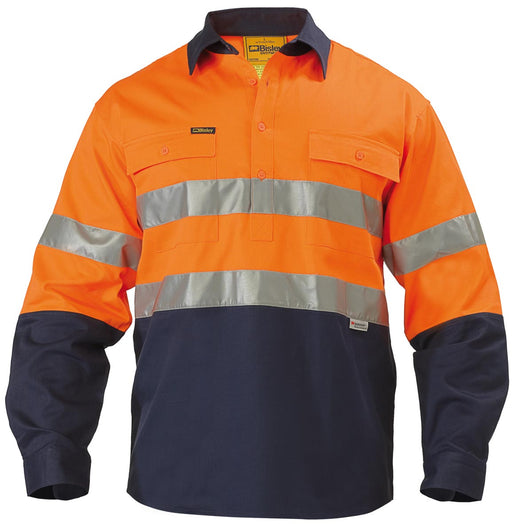 Bisley 2 Tone 3M Closed Front Hi Vis Drill Shirt - Long Sleeve - Orange/Navy (BTC6456) - Trade Wear