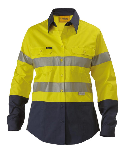 Ladies Hi Vis 3M Lightweight Gusset Cuff Shirt -Long Sleeve- Yellow/Navy