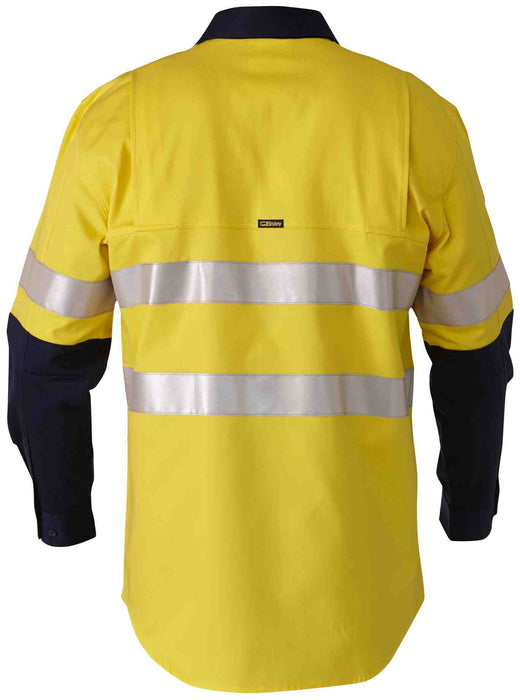 Bisley 3M Taped 2 Tone Hi Vis Mens Industrial Cool Vent Shirt - Yellow/Navy - Trade Wear