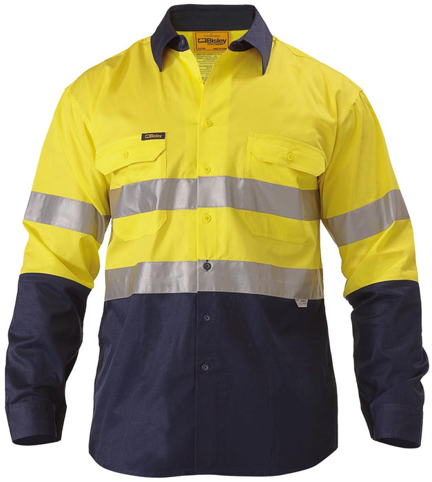 Bisley Bisley 2 Tone 3M Hi Vis Lightweight Gusset Cuff Shirt- Long Sleeve- Yellow/Navy (BS6896) - Trade Wear