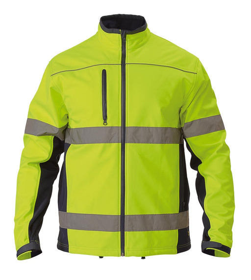 Bisley Soft Shell Jacket with 3M Reflective Tape - Yellow/Navy (BJ6059T) - Trade Wear