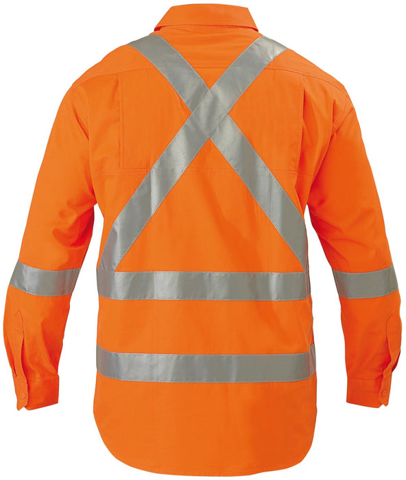 Bisley Bisley 3M X Tapes Hi Vis Drill Shirt Long Sleeve - Orange (BS6156T) - Trade Wear