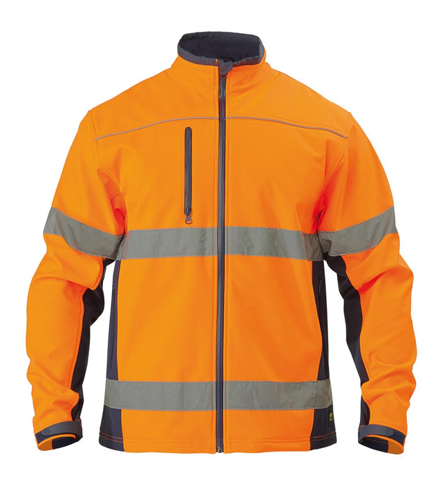 Bisley Soft Shell Jacket with 3M Reflective Tape - Orange/Navy (BJ6059T) - Trade Wear