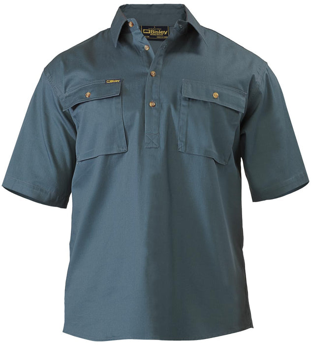 Bisley Bisley Closed Front Cotton Drill Shirt - Short Sleeve - Bottle (BSC1433) - Trade Wear