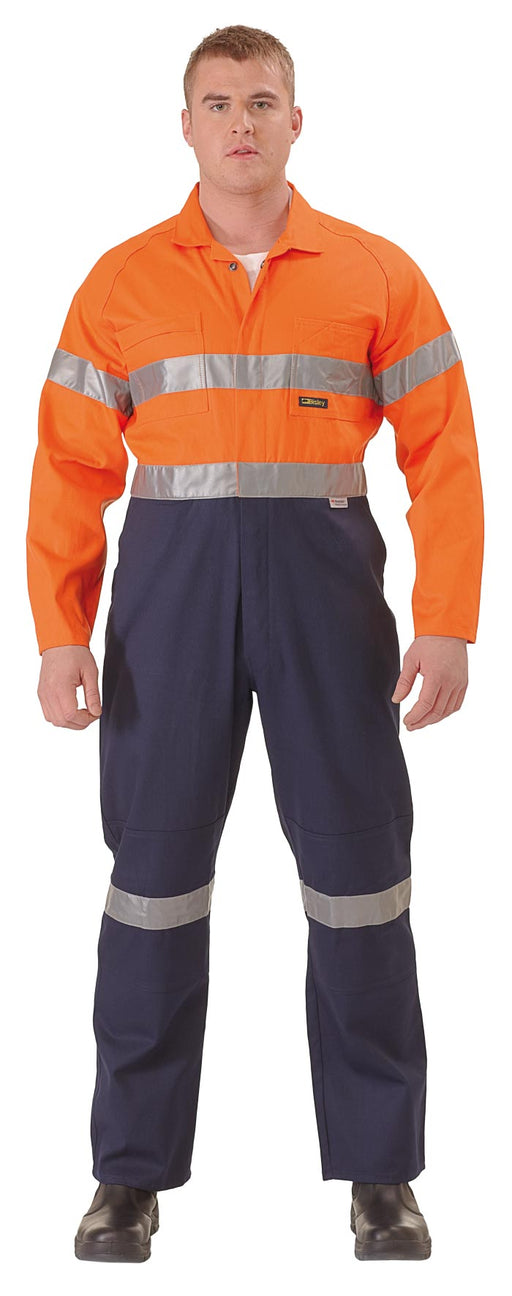 Bisley 2 Tone Hi Vis Lightweight Coveralls 3M Reflective Tape - Orange/Navy (BC6719TW) - Trade Wear