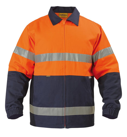 Bisley 2 Tone Hi Vis Drill Jacket 3M Reflective Tape - Orange/Navy (BK6710T) - Trade Wear