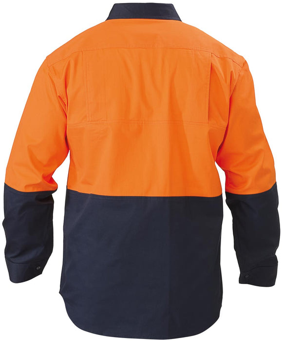 Bisley 2 Tone Hi Vis Cool Ventilated Drill Shirt - Long Sleeve - Orange/Navy - Trade Wear