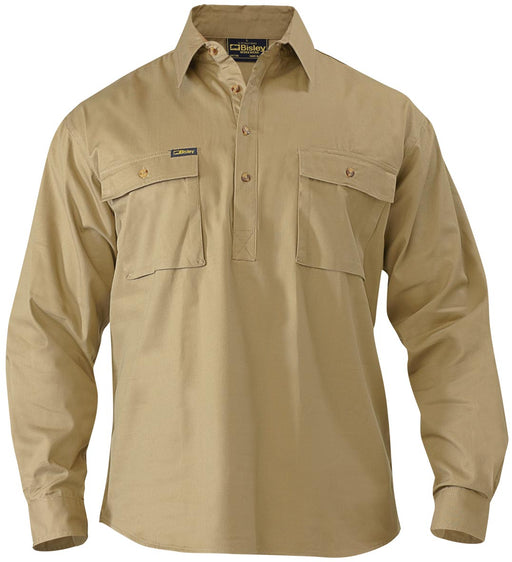 Closed Front Cotton Drill Shirt - Long Sleeve - Khaki