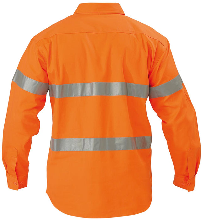 Bisley His Vis Closed Front Drill Long Sleeve Shirt 3M Reflective Tape - Orange - Trade Wear