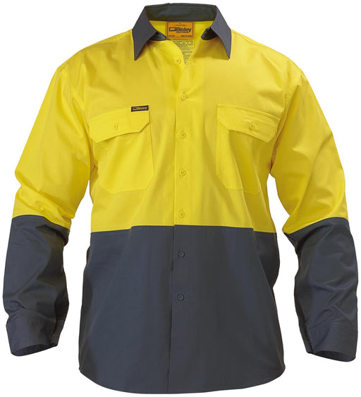 Bisley 2 Tone Hi Vis Cool Ventilated Drill Shirt - Long Sleeve - Yellow/Bottle (BS6895) - Trade Wear