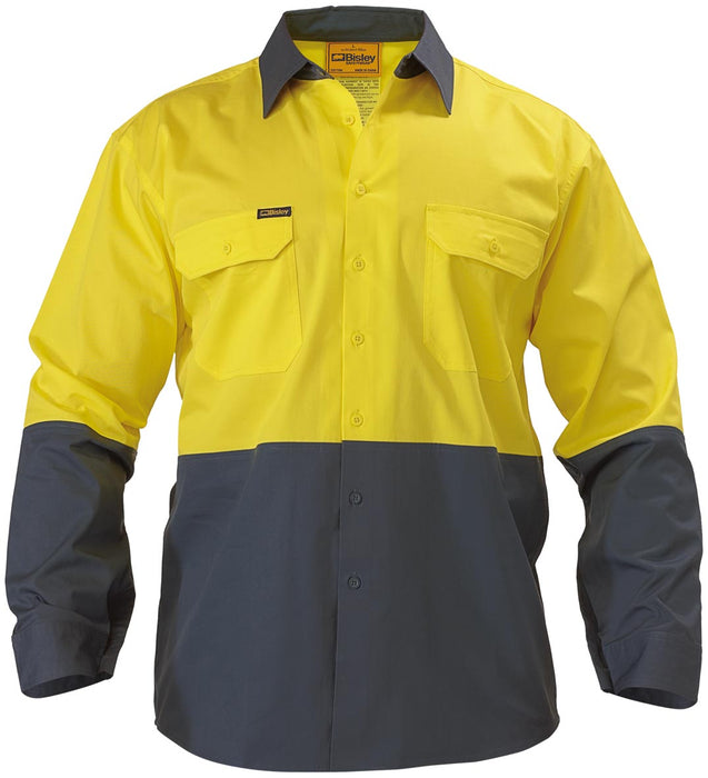 Bisley Bisley 2 Tone Hi Vis Cool Ventilated Drill Shirt - Long Sleeve - Yellow/Bottle (BS6895) - Trade Wear