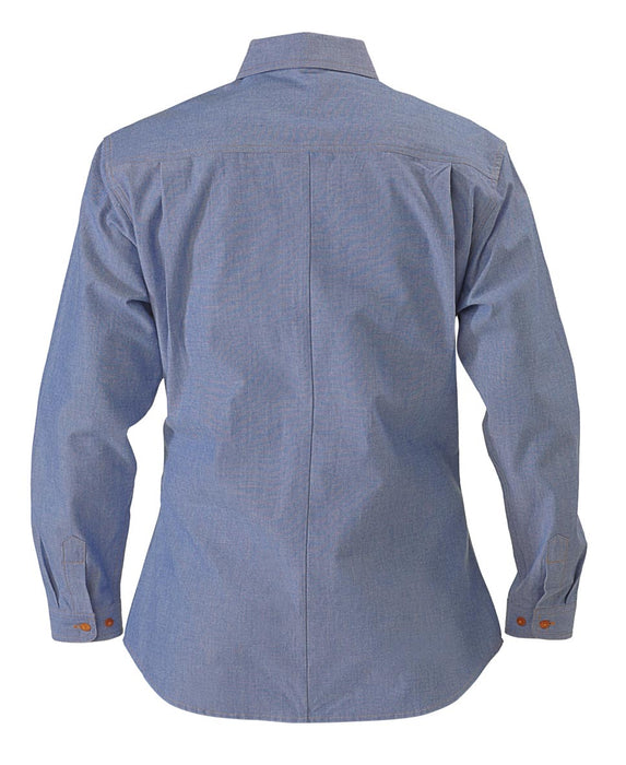 Bisley Ladies Chambray Shirt - Long Sleeve - Blue - Trade Wear