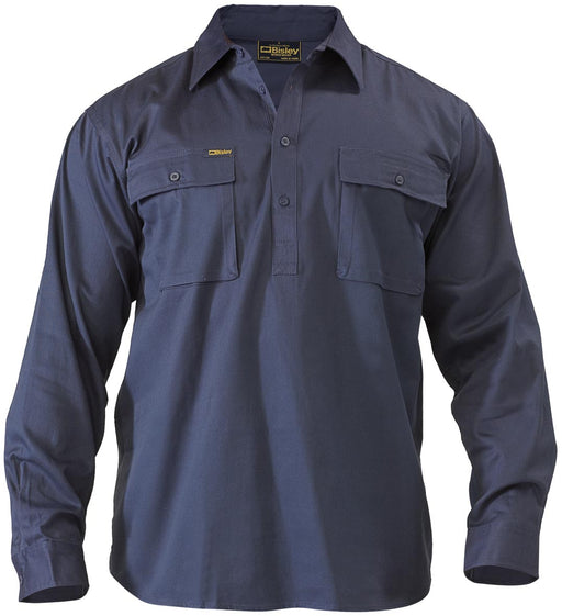 Closed Front Cotton Drill Shirt - Long Sleeve - Navy