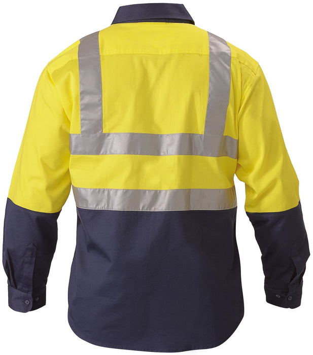 Bisley 2 Tone Hi Vis Drill Shirt 3M Reflective Tape - Long Sleeve - Yellow/Navy (BS6267T) - Trade Wear
