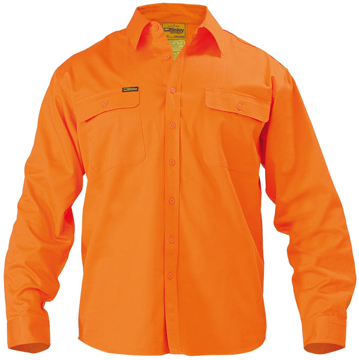 Bisley Hi Vis Drill Shirt - Long Sleeve - Orange (BS6339) - Trade Wear