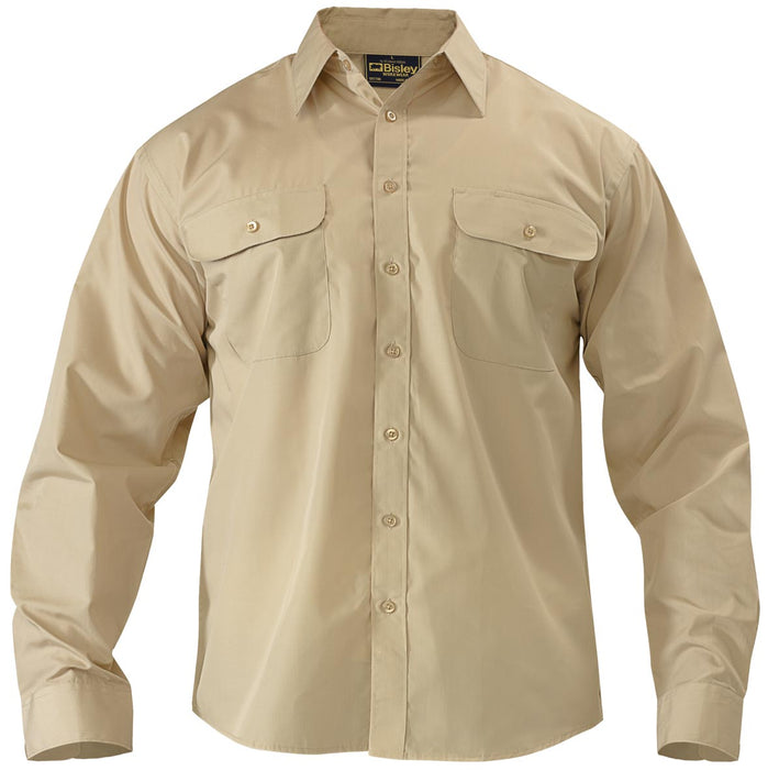Bisley Bisley Permanent Press Shirt - Long Sleeve - Sand (BS6526) - Trade Wear