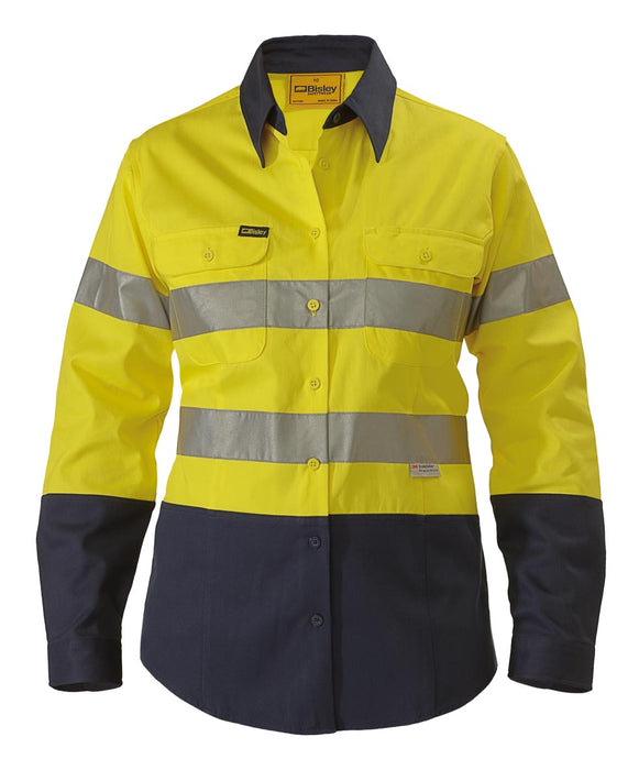 Bisley 2 Tone 3M Ladies Hi Vis Drill Shirt - Long Sleeve - Yellow/Navy (BLT6456) - Trade Wear