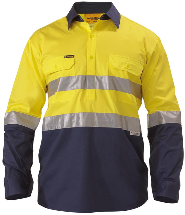 Bisley 2 Tone 3M Hi Vis Lightweight Closed Front Shirt -Long Sleeve-Yellow/Navy (BSC6896) - Trade Wear