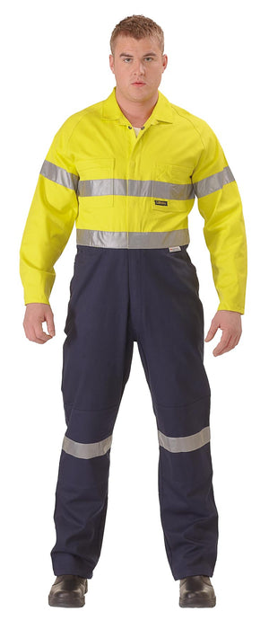 Bisley 2 Tone Hi Vis Lightweight Coveralls 3M Reflective Tape - Yellow/Navy (BC6719TW) - Trade Wear