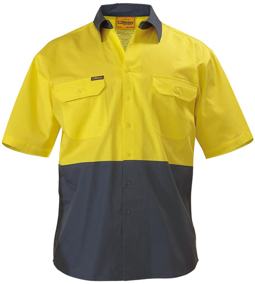 Bisley 2 Tone Cool Lightweight Drill Shirt - Short Sleeve - Yellow/Bottle (BS1895) - Trade Wear
