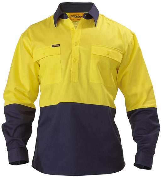 Bisley 2 Tone Closed Front Hi Vis Drill Shirt - Long Sleeve - Yellow/Navy (BSC6267) - Trade Wear