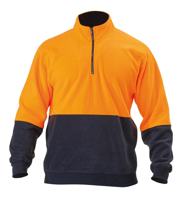 Bisley Hi Vis Polarfleece Zip Pullover - Orange/Navy (BK6889) - Trade Wear