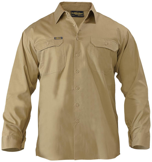 Bisley Bisley Cool Lightweight Drill Shirt - Long Sleeve - Khaki (BS6893) - Trade Wear