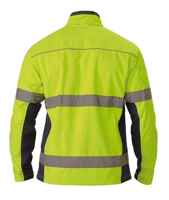 Bisley Soft Shell Jacket with 3M Reflective Tape - Yellow/Navy - Trade Wear