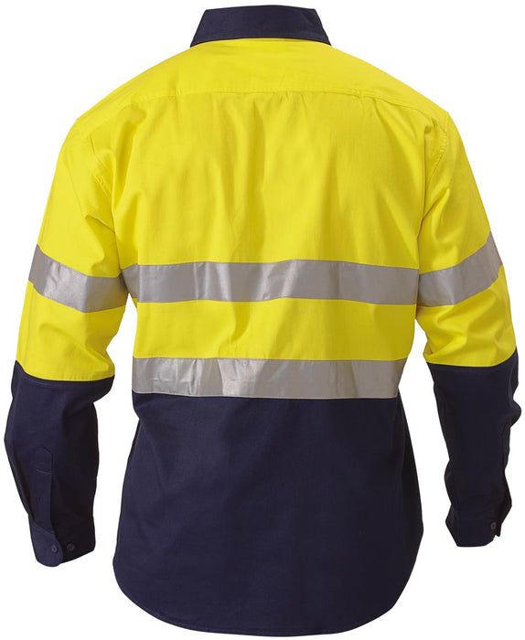 Bisley 2 Tone Hi Vis Shirt 3M Reflective Tape - Long Sleeve - Yellow/Navy (BT6456) - Trade Wear