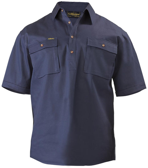 Closed Front Cotton Drill Shirt - Short Sleeve - Navy