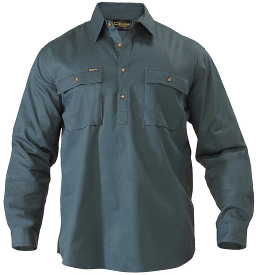 Closed Front Cotton Drill Shirt - Long Sleeve - Bottle