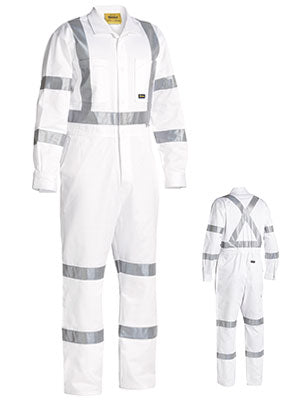 Bisley 3M Taped White Drill Coverall (BC6806T) - Trade Wear