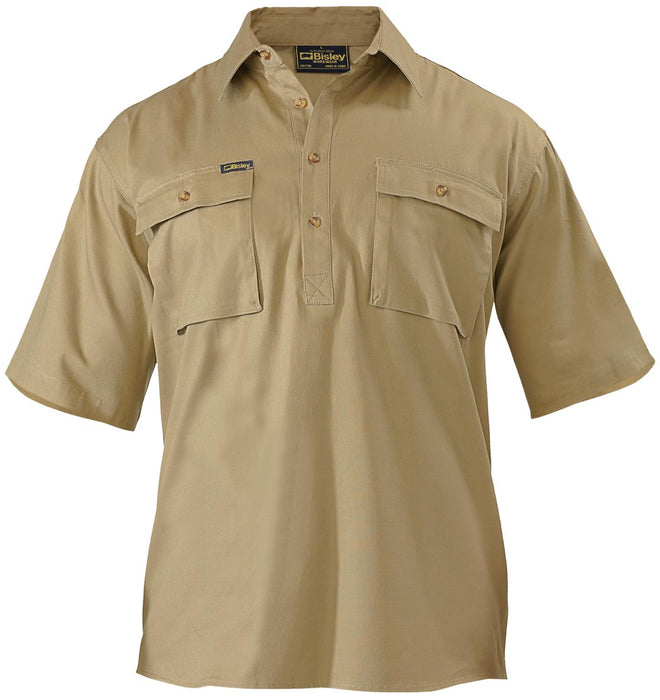 Bisley Closed Front Cotton Drill Shirt - Short Sleeve - Khaki - Trade Wear