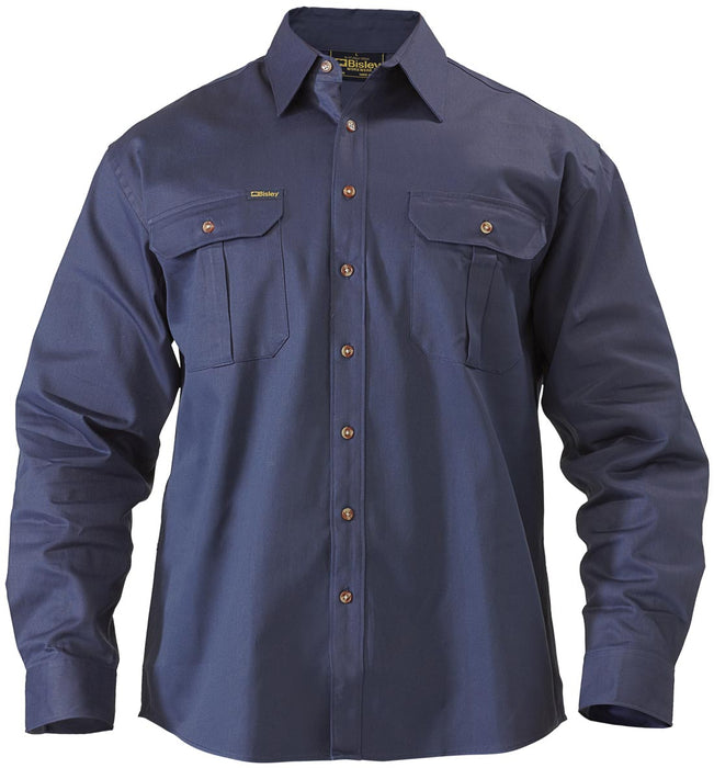 Bisley Original Cotton Drill Shirt - Long Sleeve - Navy (BS6433) - Trade Wear