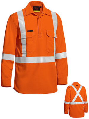 Bisley Taped Hi Vis Closed Front Lightweight FR Shirt - Long Sleeve (BSC8176T) - Trade Wear