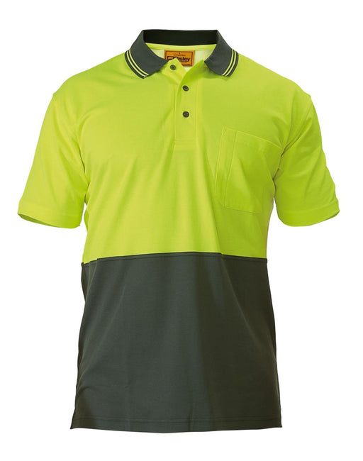 Bisley 2 Tone Hi Vis Polo Shirt - Short Sleeve - Yellow/Bottle (BK1234) - Trade Wear
