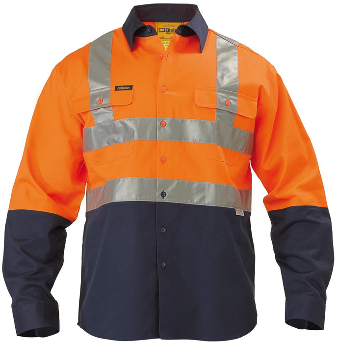 Bisley 2 Tone Hi Vis Drill Shirt 3M Reflective Tape - Long Sleeve - Orange/Navy (BS6267T) - Trade Wear