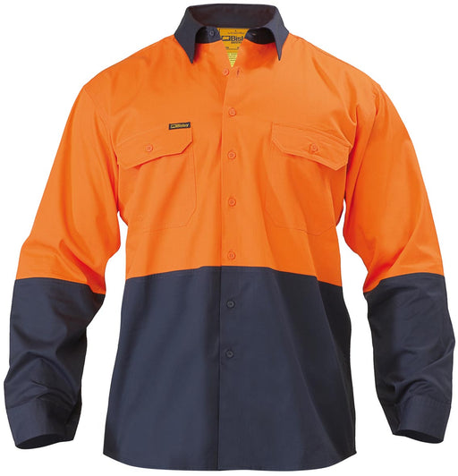 Bisley Bisley 2 Tone Hi Vis Cool Ventilated Drill Shirt - Long Sleeve - Orange/Navy (BS6895) - Trade Wear