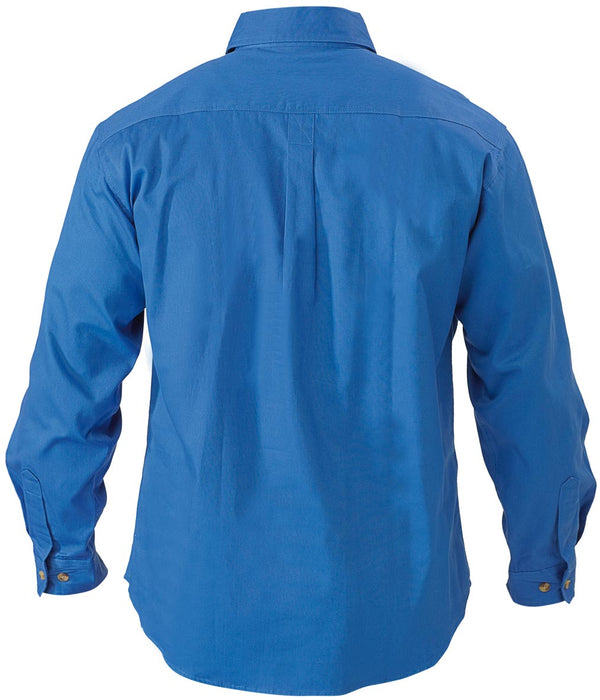 Bisley Bisley Closed Front Cotton Drill Shirt - Long Sleeve - Royal (BSC6433) - Trade Wear