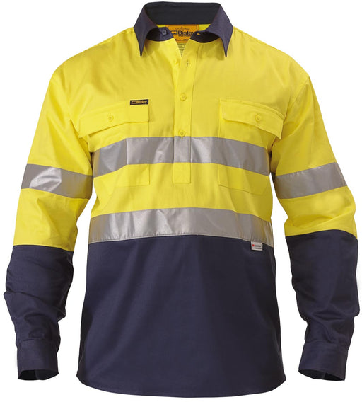 Bisley 2 Tone 3M Closed Front Hi Vis Drill Shirt - Long Sleeve - Yellow/Navy (BTC6456) - Trade Wear