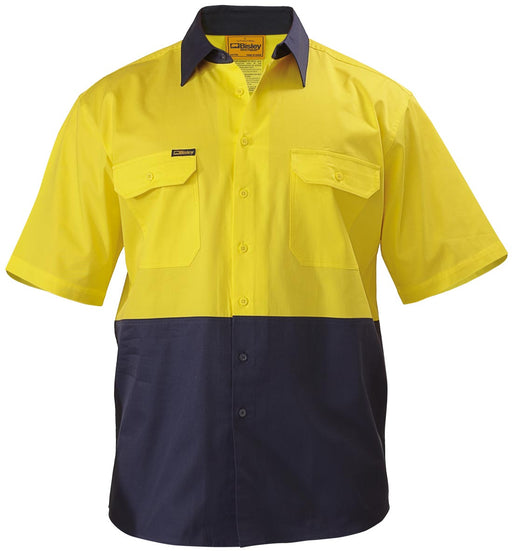 Bisley 2 Tone Cool Lightweight Drill Shirt - Short Sleeve - Yellow/Navy (BS1895) - Trade Wear