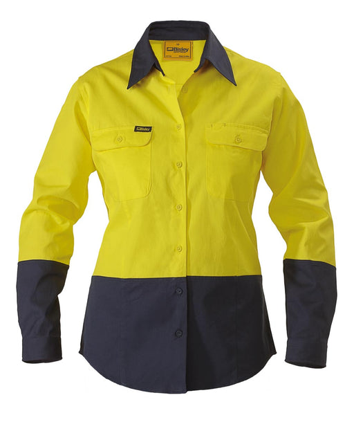 Bisley Ladies 2 Tone Hi Vis Drill Shirt - Long Sleeve - Yellow/Navy - Trade Wear