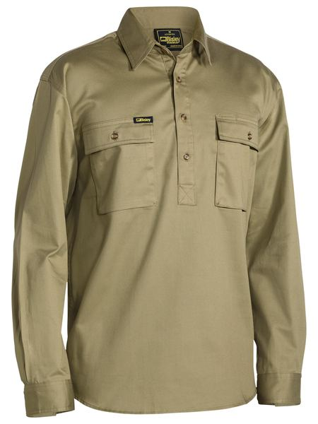 Bisley Bisley Closed Front Cotton Drill Shirt Long Sleeve (BSC6433) - Trade Wear