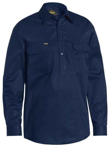 Bisley Bisley Lightweight Closed Front Cotton Drill Shirt - Long Sleeve (BSC6820) - Trade Wear
