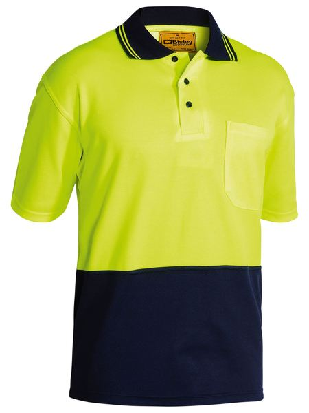 Bisley 2 Tone Hi Vis Polo Shirt - Short Sleeve - Yellow/Navy (BK1234) - Trade Wear