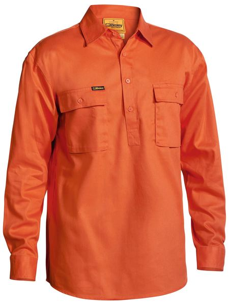 Bisley Bisley Closed Front Cotton Drill Shirt Long Sleeve - Orange (BSC6433-Orange) - Trade Wear