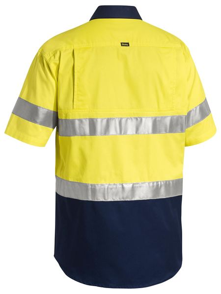 Bisley Bisley 3M Taped Two Tone Hi Vis Lightweight Short Sleeve Drill Shirt (BS1896) - Trade Wear