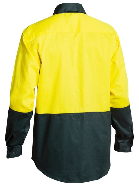 Bisley Bisley 2 Tone Hi Vis Drill Shirt - Long Sleeve - Yellow/Bottle (BS6267) - Trade Wear