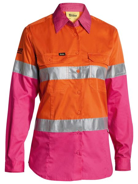 Bisley Bisley Womens 3M Taped Hi Vis Cool Lightweight Shirt - Orange/Pink (BL6696T) - Trade Wear